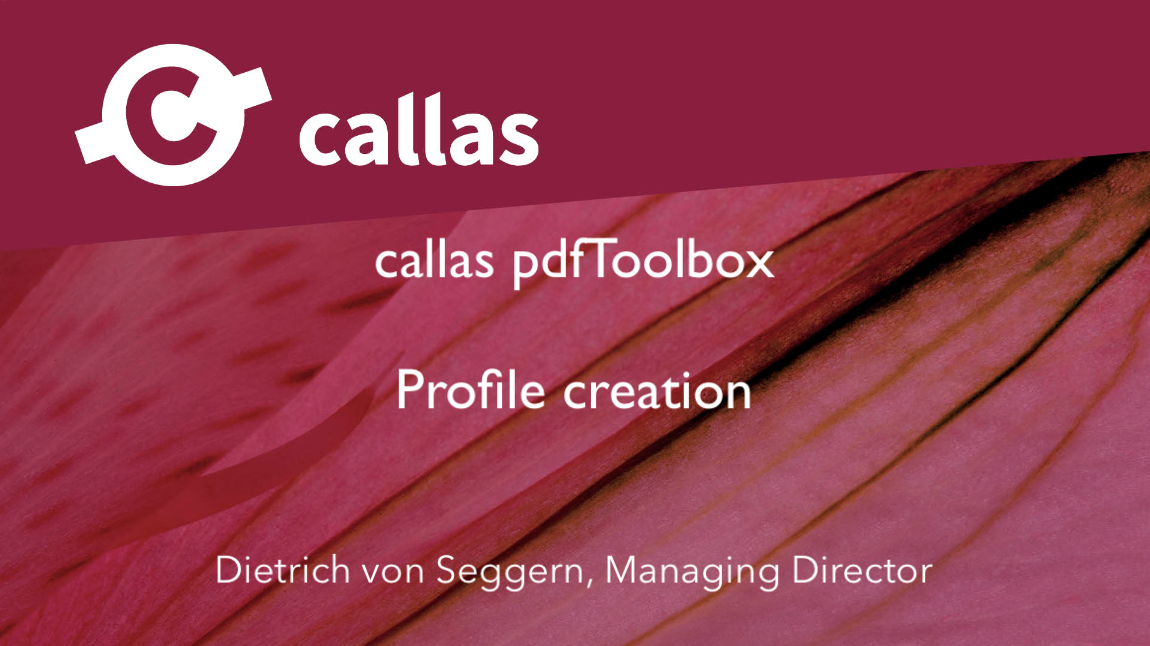 Profile creation in pdfToolbox